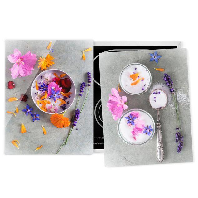 Herdabdeckplatte Glas - Blüten mit Zucker