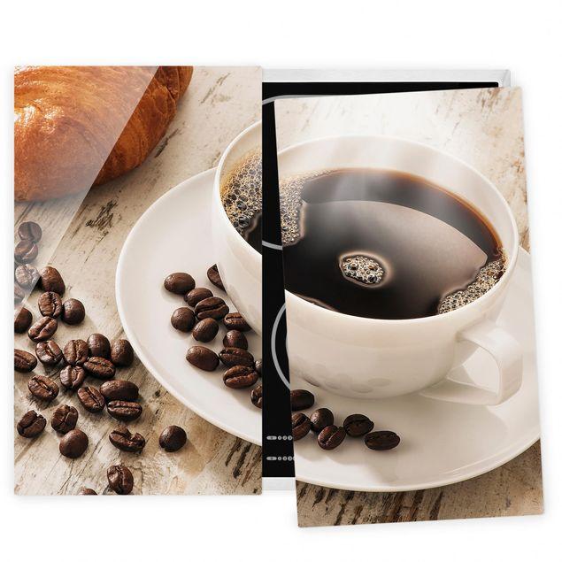 Herdabdeckplatte Glas - Dampfende Kaffeetasse mit Kaffeebohnen