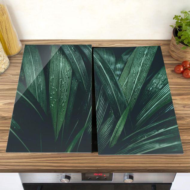 Herdabdeckplatte Glas - Grüne Palmenblätter