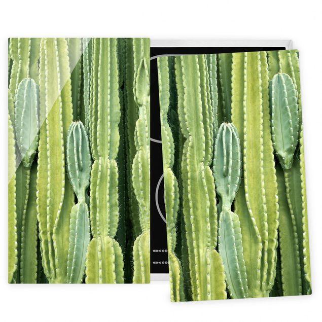 Herdabdeckplatte Glas - Kaktus Wand