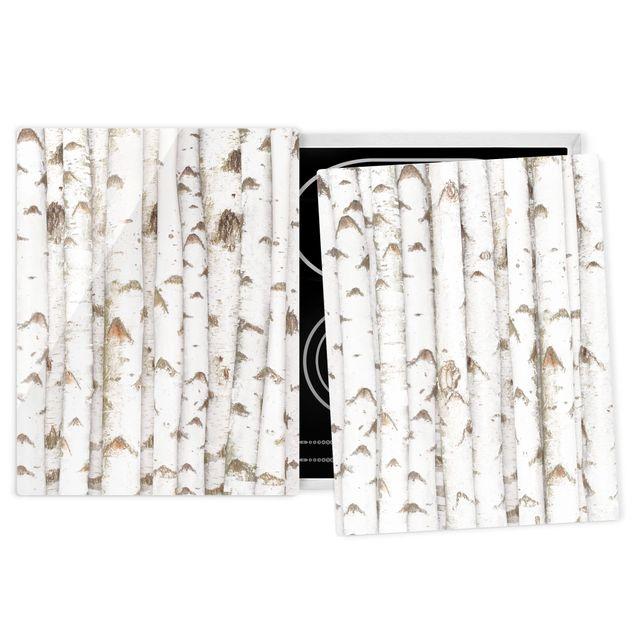 Herdabdeckplatte Glas - No.YK15 Birkenwand