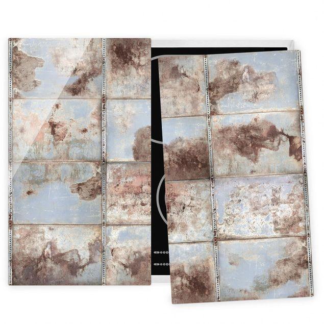 Herdabdeckplatte Glas - Shabby Industrial Metalloptik