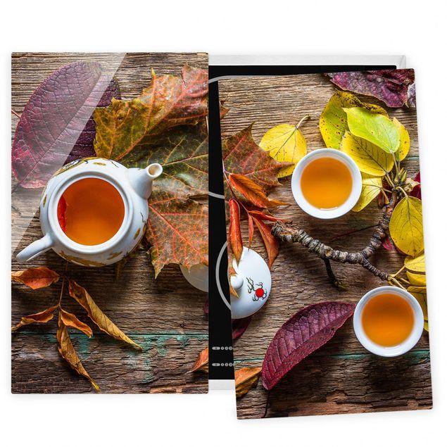 Herdabdeckplatte Glas - Tee im September