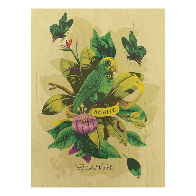 Holzbild -Frida Kahlo - Bonito- Hochformat 3:4