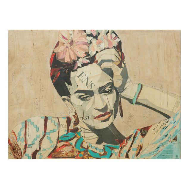 Holzbild -Frida Kahlo - Collage No.1- Querformat 4:3