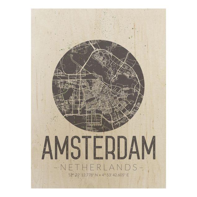 Holzbild -Stadtplan Amsterdam - Retro- Hochformat 3:4