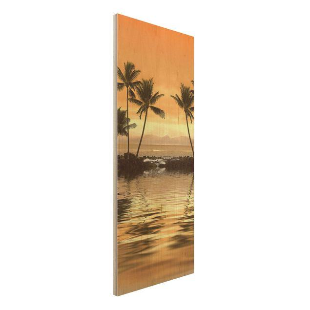 Holz Wandbild - Caribbean Sunset I - Panorama Hoch