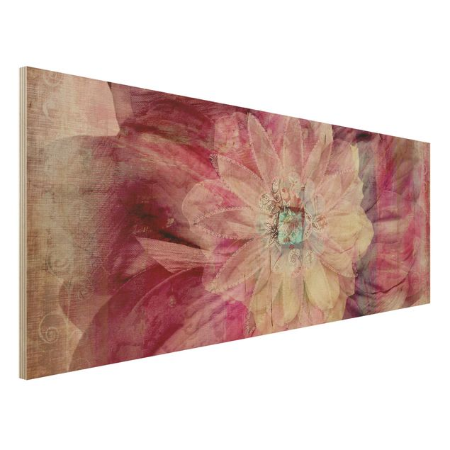 Holzbild - Grunge Flower - Panorama Quer