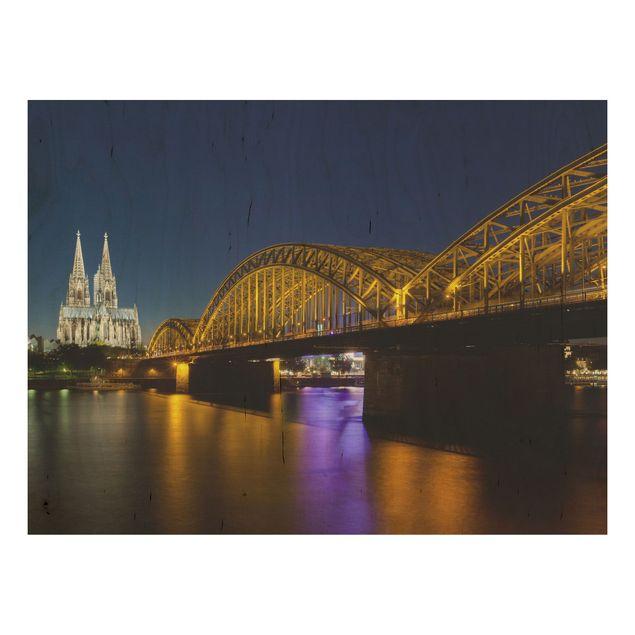 Holzbild - Köln bei Nacht - Quer 4:3