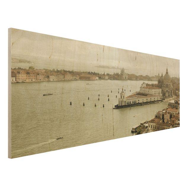 Holz Wandbild - Lagune von Venedig - Panorama Quer