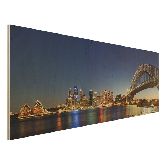 Holzbild - Sydney at Night - Panorama Quer