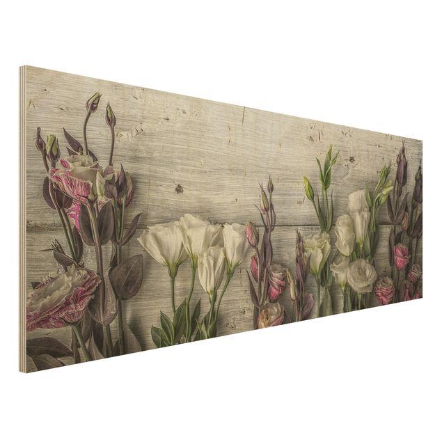 Holzbild - Tulpen-Rose Shabby Holzoptik - Panorama Quer