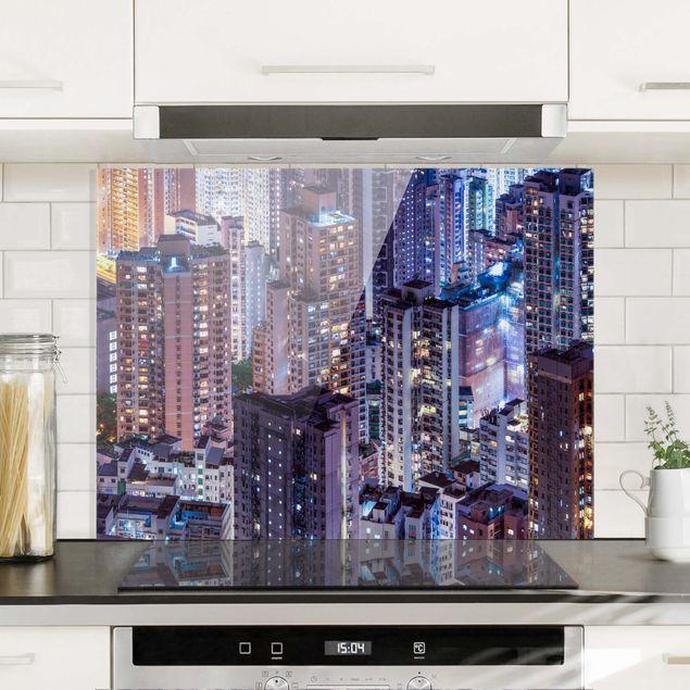 Spritzschutz Glas - Hongkong Lichtermeer - Querformat 4:3
