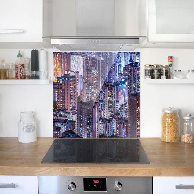 Spritzschutz Glas - Hongkong Lichtermeer - Quadrat 1:1