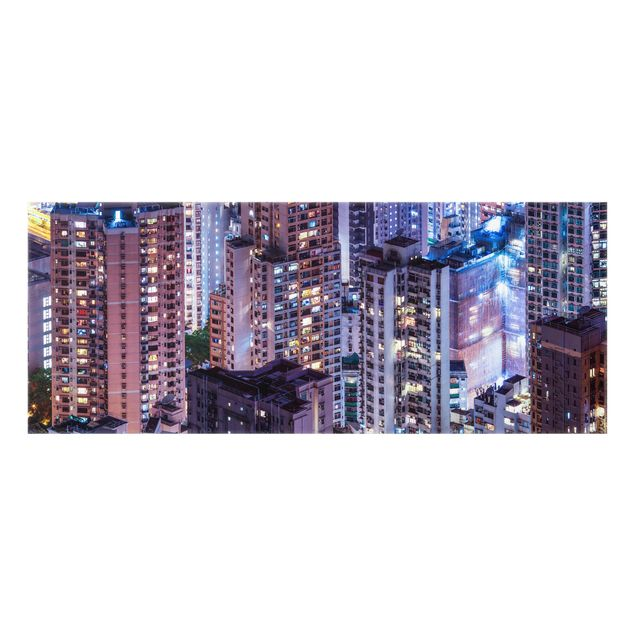 Spritzschutz Glas - Hongkong Lichtermeer - Panorama 5:2