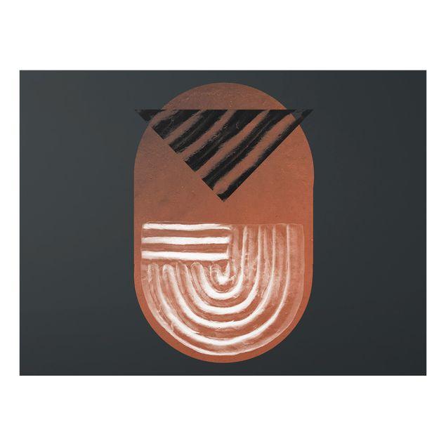 Spritzschutz Glas - Indigene Ton Geometrie auf Dunkelgrau - Querformat 4:3