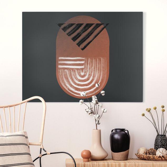 Leinwandbild - Indigene Ton Geometrie auf Dunkelgrau - Querformat 4:3