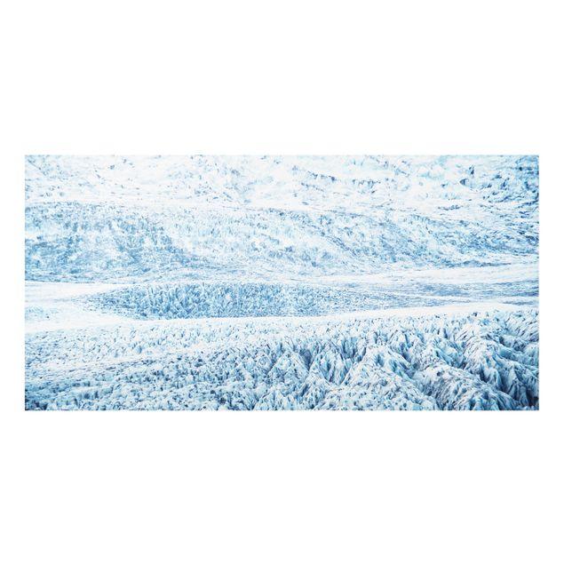 Spritzschutz Glas - Isländisches Gletschermuster - Querformat 2:1