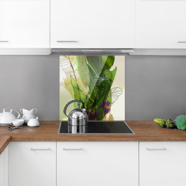 Spritzschutz Glas - Jahreszeiten Frühlingsgrün - Quadrat 1:1