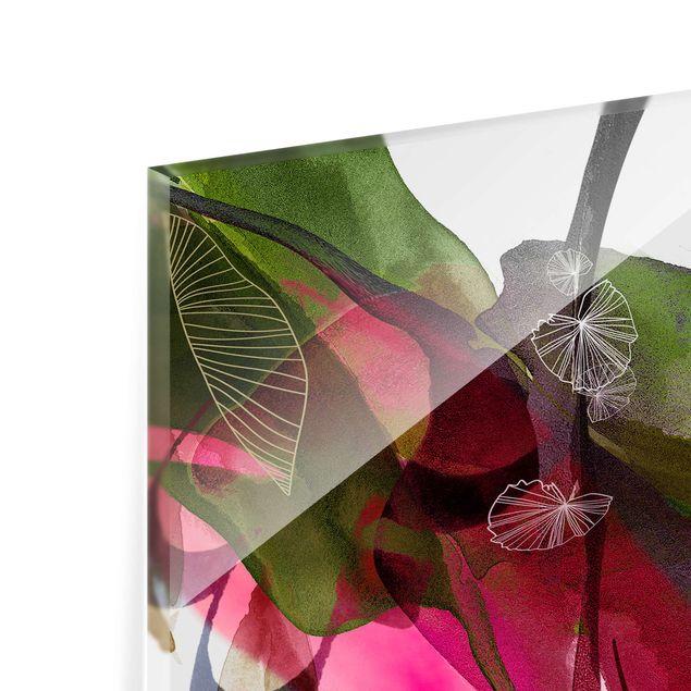 Spritzschutz Glas - Jahreszeiten Herbstrot - Quadrat 1:1