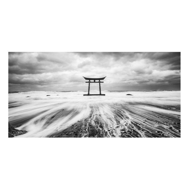 Spritzschutz Glas - Japanisches Torii im Meer - Querformat 2:1