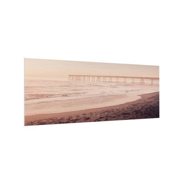 Spritzschutz Glas - Kalifornien Halbmond Küste - Panorama 5:2