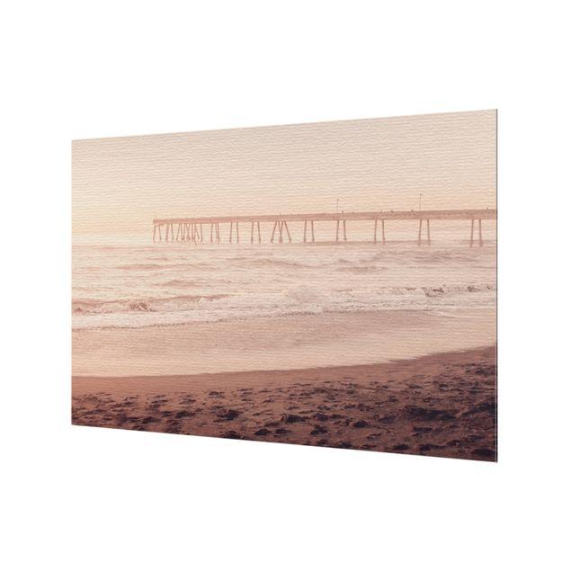 Spritzschutz Glas - Kalifornien Halbmond Küste - Querformat 3:2