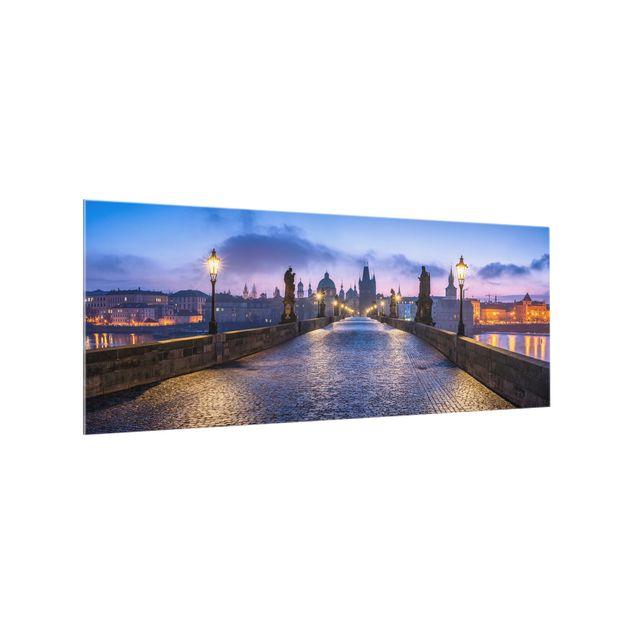 Spritzschutz Glas - Karlsbrücke in Prag - Panorama 5:2