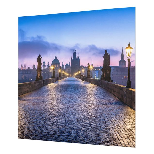 Spritzschutz Glas - Karlsbrücke in Prag - Quadrat 1:1