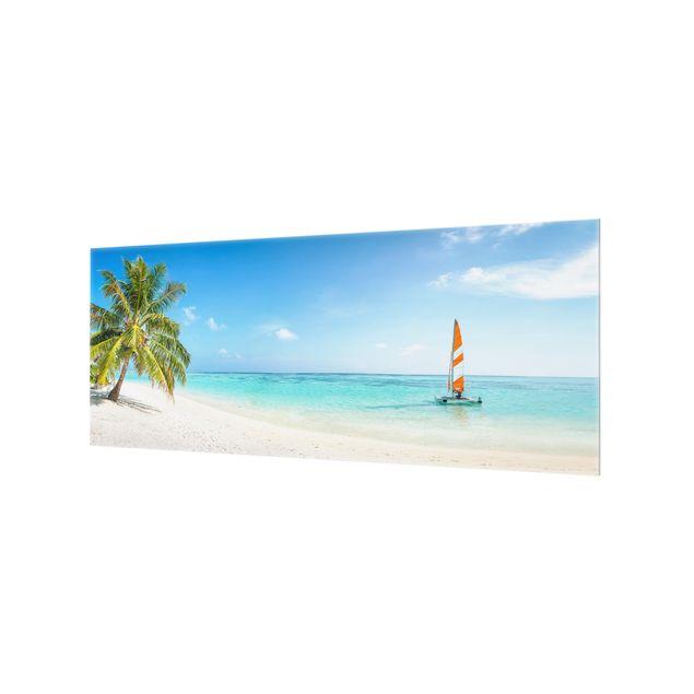 Spritzschutz Glas - Katamaran auf dem Indischen Ozean - Panorama 5:2
