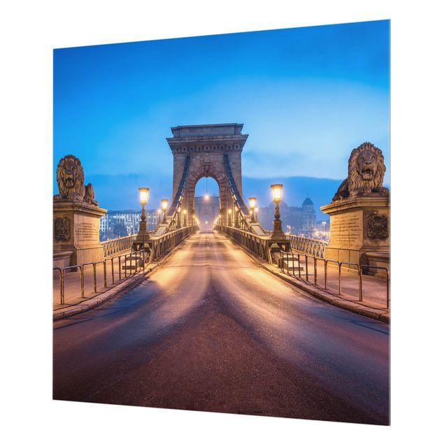 Spritzschutz Glas - Kettenbrücke in Budapest bei Nacht - Quadrat 1:1