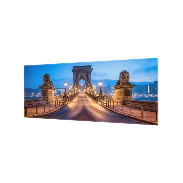 Spritzschutz Glas - Kettenbrücke in Budapest bei Nacht - Panorama 5:2