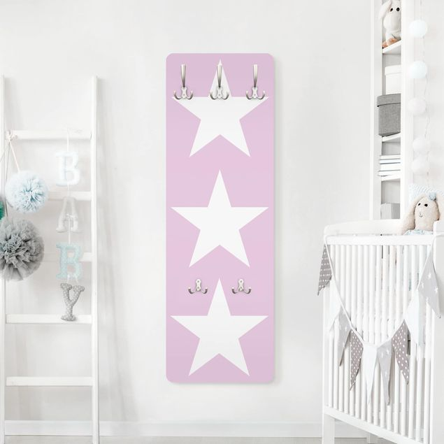 Kindergarderobe - Große Weiße Sterne auf Rosa - Kinderzimmer