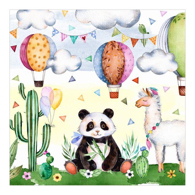 Fototapete Panda und Lama Aquarell