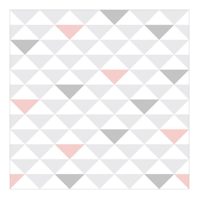 Fototapete Dreiecke Grau Weiß Rosa