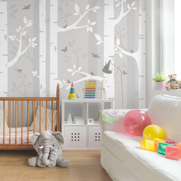 Kinderzimmer Tapete - Birkenwald mit Schmetterlingen und Vögel Grau ...