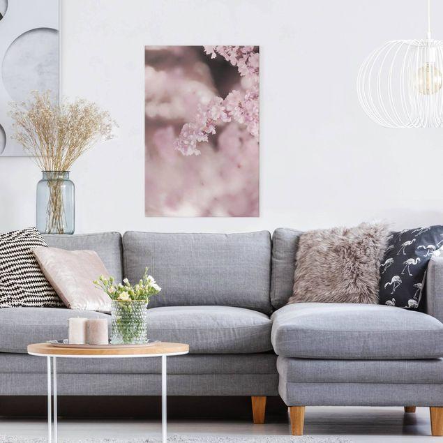 Leinwandbild - Kirschblüte im Violetten Licht - Hochformat 2:3