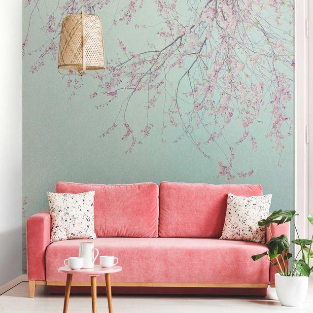 Metallic Tapete - Kirschblütensehnsucht