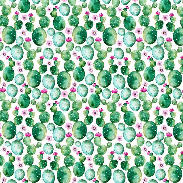 Klebefolie - Kaktus mit Blüten Aquarell