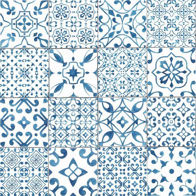 Klebefolie - Musterfliesen Blau Weiß