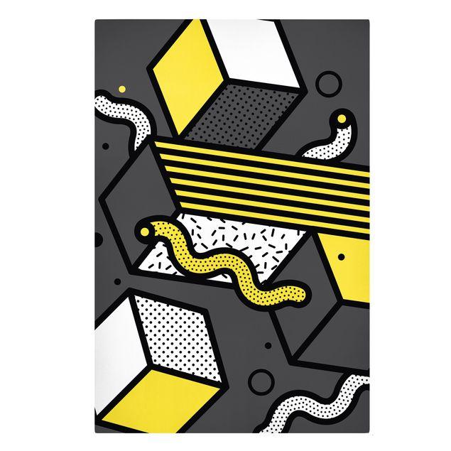 Leinwandbild - Komposition Neo Memphis Gelb und Grau - Hochformat 2:3