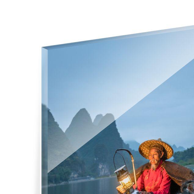 Spritzschutz Glas - Kormoranfischer am Abend - Quadrat 1:1
