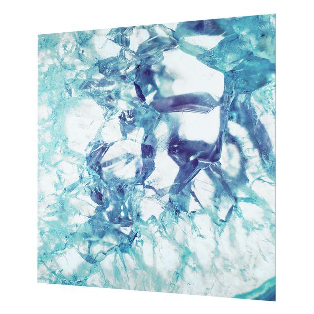 Spritzschutz Glas - Kristall Blau - Quadrat 1:1