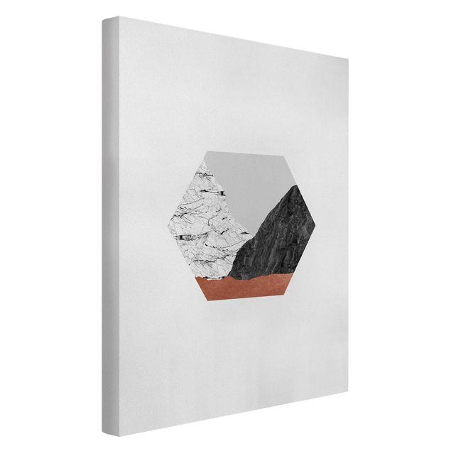 Leinwandbild - Kupferberge Geometrie im Hexagon - Hochformat 2:3