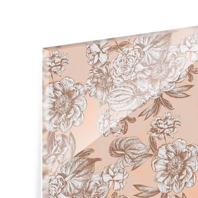 Spritzschutz Glas - Kupferstich Blütenbouquet - Querformat 2:1