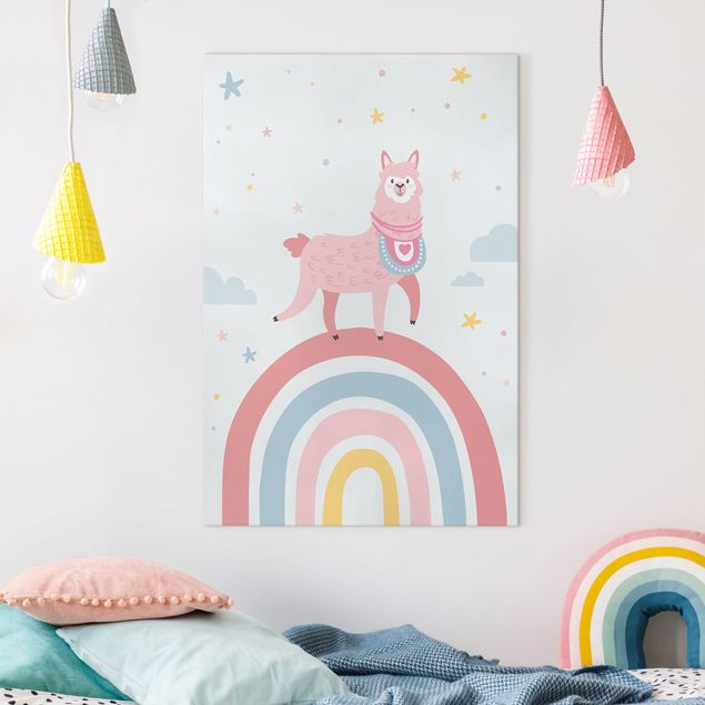 Leinwandbild - Lama auf Regenbogen mit Sternen und Pünktchen - Hochformat 2:3
