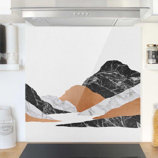 Spritzschutz Glas - Landschaft in Marmor und Kupfer II - Quadrat 1:1