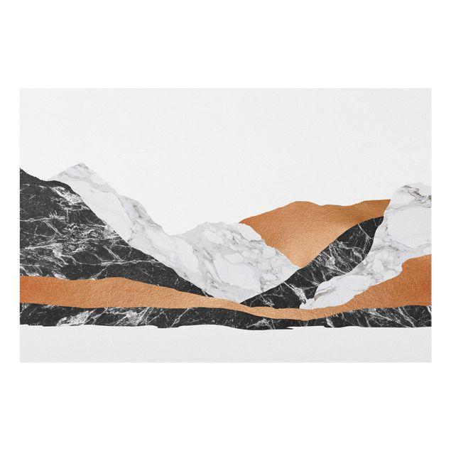 Spritzschutz Glas - Landschaft in Marmor und Kupfer - Querformat 3:2