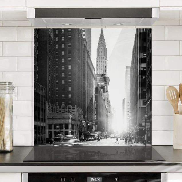 Spritzschutz Glas - Lebhaftes New York - Quadrat 1:1