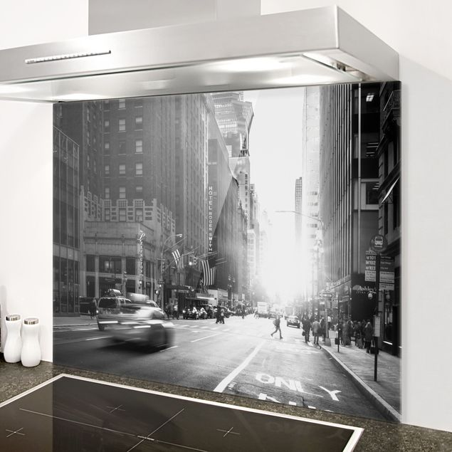 Spritzschutz Glas - Lebhaftes New York - Querformat 4:3